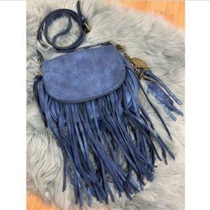 Aldo Crossbody Fringe Festival Bag Blue Leather